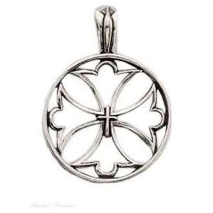 Sterling Silver Open Christian Cross Charm Arts, Crafts