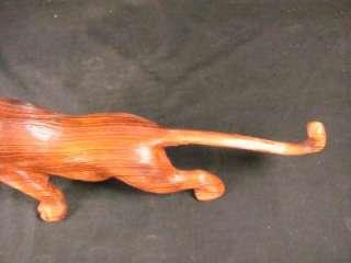 JAPANESE VINTAGE WOOD TIGER TORA CARVED LARGE STATUE RARE ART SIGNED