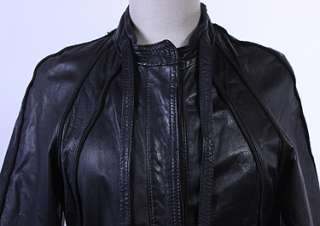 WOMENS VTG SOFT LEATHER HIPSTER LONG SPY JACKET sz M