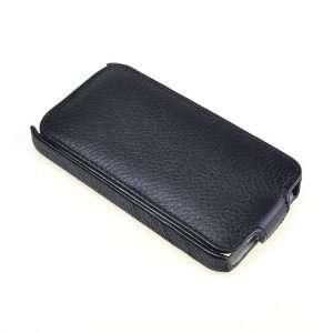 Black Leather Flip Case Skin For Apple iPhone 4 Electronics