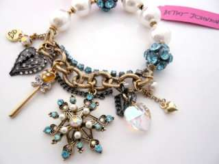 Auth Betsey Johnson Snow Flake Angel Wing Charm Bracelet NEW WITH TAG