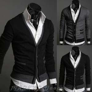 NWT Men Premium Stylish V NECK Cardigan Sweater H179 2color 3Size