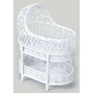 : Dollhouse Miniature White Wire Bassinet with Shelf: Everything Else