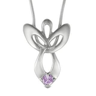 Sterling Silver 5/8 Alexandrite June Birthstone Angel Wing Necklace