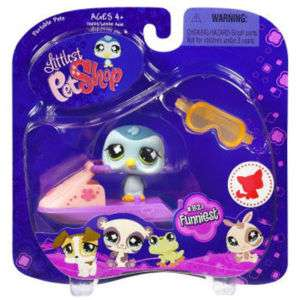 NIB LITTLEST PET SHOP BLUE PENGUIN & PINK SKI DOO #821