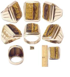 Art Deco Solid Gold Tiger Eye Double Roman Warrior Ring