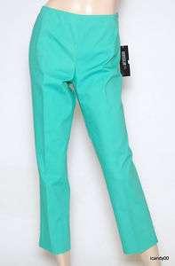 NWT LAFAYETTE 148 COTTON DRESS PANTS SLACKS ~GREEN *8
