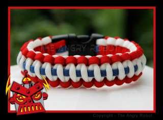 Paracord Survival Bracelet   Patriotic   Red White Blue