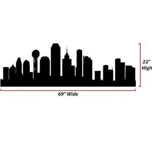 Dallas Skyline Silhouette  X Large  Vinyl Wall Decal: Everything Else