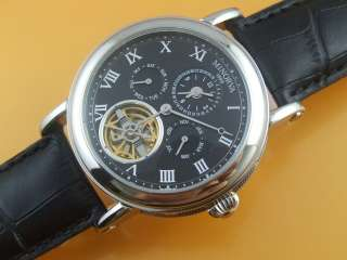 SS Dual time open heart automatic watch black