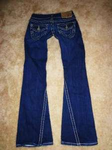 True Religion JOEY BIG T Low Rise Stretch Dark Wash Flare Jeans EUC