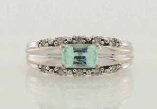 14k White Gold .54ct Aquamarine Diamond Cocktail Band Ring Size 5 No