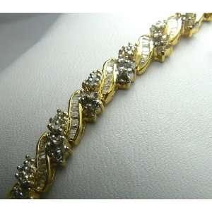 20tcw Elegant Yellow Gold & Diamond Tennis Bracelet