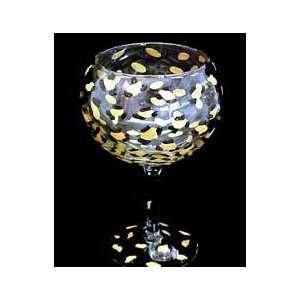 Gold Leopard Design   Hand Painted   Goblet   12.5 oz