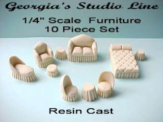 Quarter Scale) 10 Piece Cast Furniture Kit by Lori Ann Potts