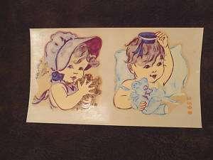 Angelic Children Teddy Bear Vintage Decals 3 CUTE