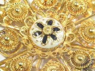 ANTIQUE 18K GOLD ENAMEL MALTESE CROSS PENDANT c1830
