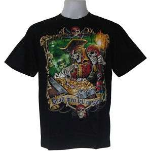 PIRATE GRIM EVIL SKULL TATTOO CHOPPER BIKER T SHIRT