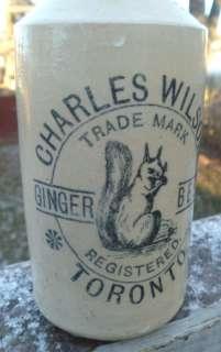 CHARLES WILSON TORONTO SQUIRREL EATING NUT LOGO STONEWARE GINGER BEER