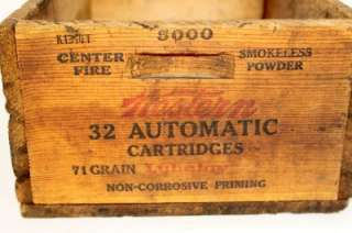 Vintage Western wooden Shell Box Old 32 Automatic Wood Ammunition Ammo