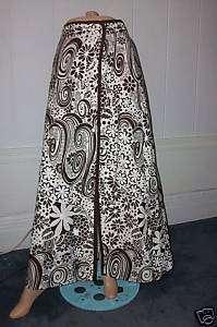 Vintage Chic Retro Hippie Designer Long Cotton Skirt