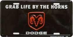 Metal License Plate Dodge Ram Logo, Grab Life