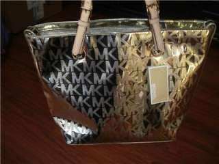 Michael Kors Gold Metalic & Leather Handbag Tote Purse diaper bag MK