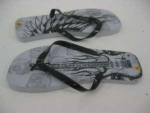 MENS ATSC Black Gray White Thong Flip Flops Sandals XL