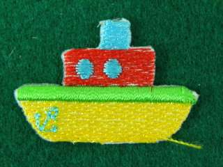 TINY CUTE SHIP BOAT IRON ON PATCH EMBROIDERED I289