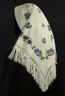 VINTAGE hand embroidered floral shawl ethnic folk costume POLAND