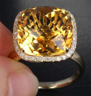 10.86CT CITRINE & DIAMOND   14K YELLOW GOLD Engagement Wedding RING