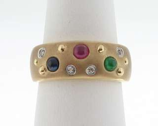 Estate Emerald Sapphire Ruby Diamonds 14k Gold Band