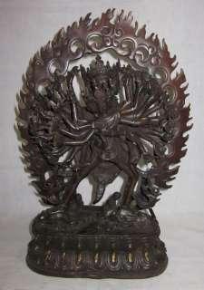 Old Tibet Tibetan Purple Bronze Kalachakra Statue