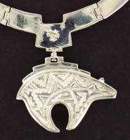 Native Navajo Calvin Begay Sterling Silver Micro Inlay Pueblo Bear