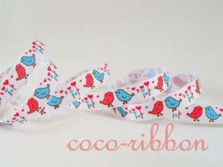 10Y Valentine Heart Bird Grosgrain Ribbon U Pick 3/8 7/8 White/Pink