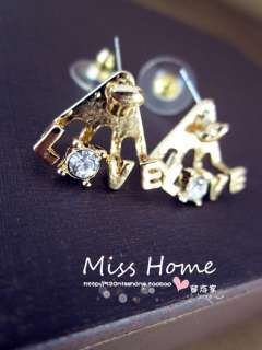 Hot New Korea Style Fashion Gold Metal Charm Crystal Love Heart Ear