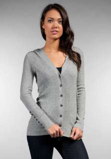JUICY COUTURE Cashmere Rib Hooded Cardigan in Heather Cozy at Revolve