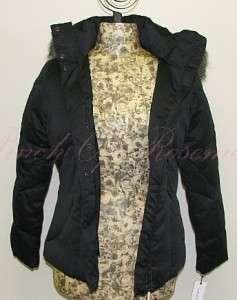 Klein Down Puff Faux Fur Hood Jacket Coat Petite 885719443931