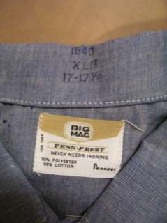 VTG Big Mac Chambray Cotton Work Shirt Sz XL 70s NOS |