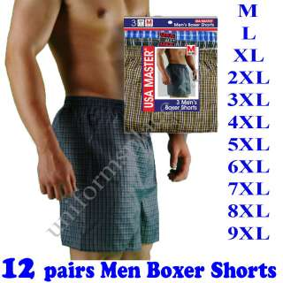 12 pairs Mens BOXER SHORTS Underwear Plaid big size New |