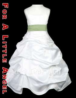 WHITE SATIN FLOWER GIRL DRESS w SAGE GREEN SASH size 8