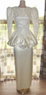 Vintage 80s Bubble Peplum Satin Lace Wedding Dress Prom Gown Jessica