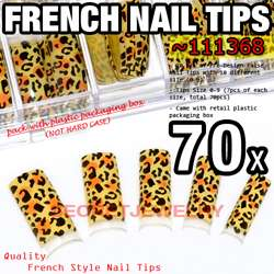 70 pcs Acrylic French False Nail Tips   Animal Print