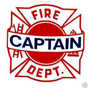 FIRE CAPTAIN FIRE DEPT. REFLECTIVE MALTESE CROSS DECAL