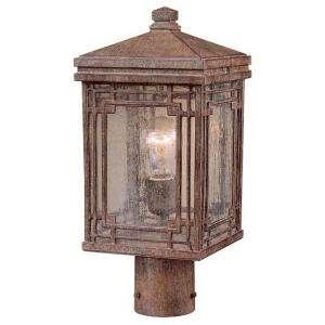 Hampton Bay Larkin Street Post Mount 1 Light Outdoor Vintage Rust