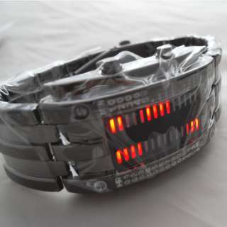 Rare Stainless RED LED Mens Sports Military Watch NEW