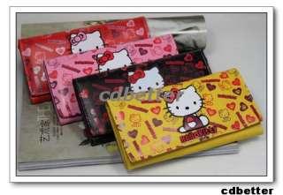 NEW Lovely Heart Pattern Kitty Womens Girl Clutch Bi Fold Long PU