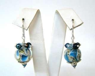 DESERT HEART Sterling Silver & Blue Goldstone Dangle Earrings