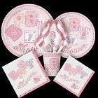 GIRL BABY SHOWER PARTY PINK STITCHING ALL ITEMS LISTED PLATE NAPKINS