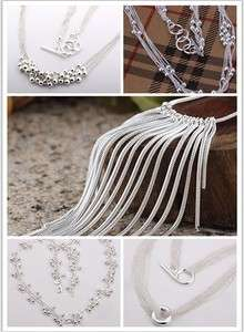 925Silver Necklace Love Heart&Bead&Link Butterfly Necklace +Box Gift